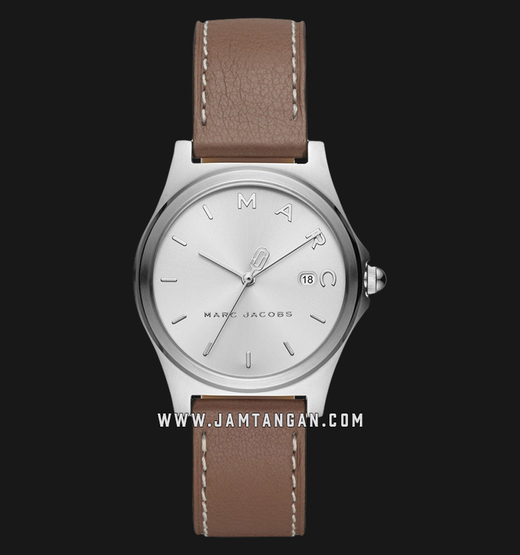 Marc Jacobs Henry MJ1642 Ladies Silver Dial Brown Leather Strap Machtwatch