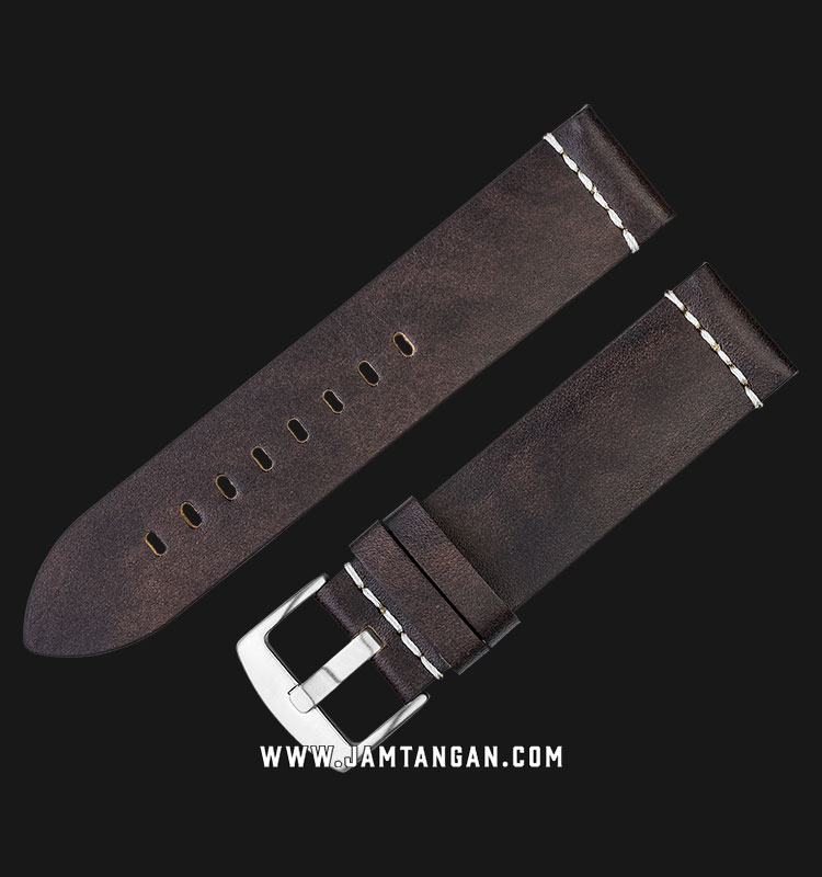 Strap Martini Gela 22mm Chocolate Leather Silver Buckle C16702-22X22 Machtwatch