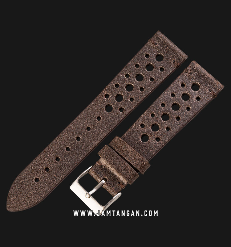 Strap Jam Tangan Leather Martini 50s C17503_V2-20X18 Chocolate 20mm Silver Buckle Machtwatch