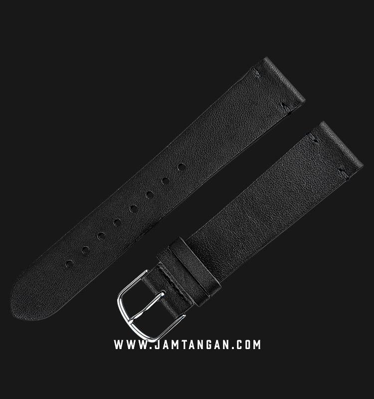 Strap Jam Tangan Leather Martini Fossa C18101-20X18 Black 20mm Silver Buckle Machtwatch