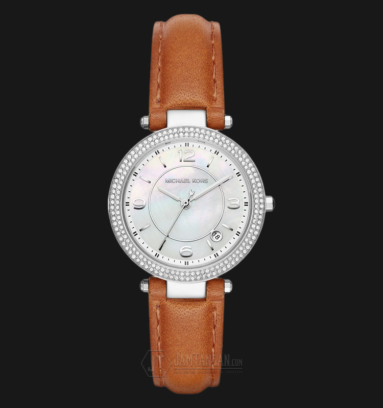 Michael Kors MK2542 Parker Pearl Dial Brown Leather Strap Watch Machtwatch