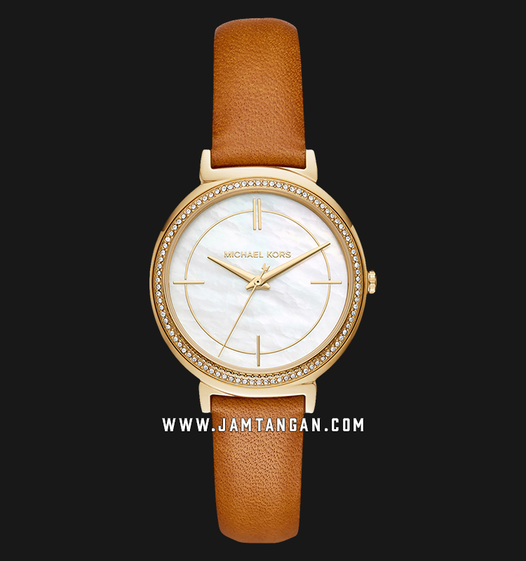 Michael Kors MK2712 Cinthia Ladies White Mother of Pearl Dial Brown Leather Strap Machtwatch