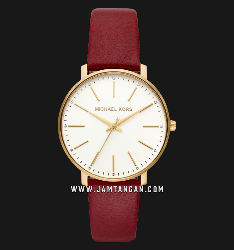 Michael Kors MK2749 Pyper White Dial Maroon Leather Strap Machtwatch