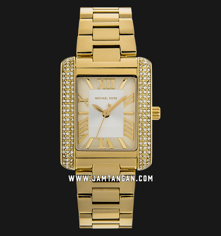 Michael Kors MK3571 Mini Emery Ladies Silver Dial Gold Stainless Steel Strap Machtwatch