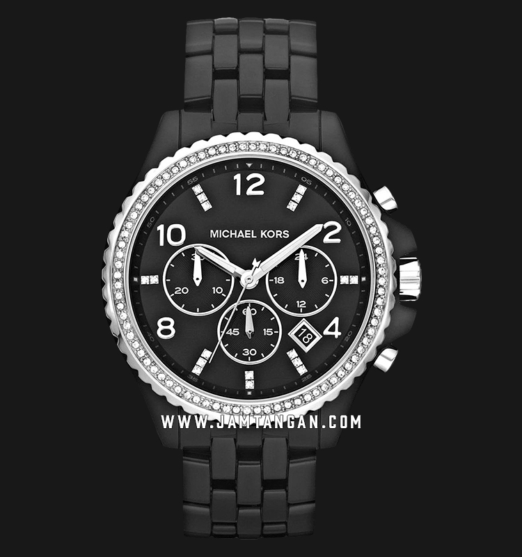 Michael Kors MK5190 Runway Chronograph Ladies Black Dial Black Ceramic Strap Machtwatch