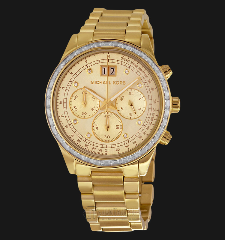Michael Kors MK6187 Brinkley Chronograph Gold Dial Gold-tone Ladies Watch Machtwatch
