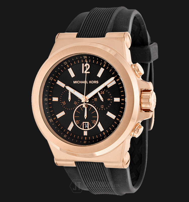 Michael Kors MK8184 Dylan Rose Gold Tone Black Dial Black Silicone Strap Watch Machtwatch