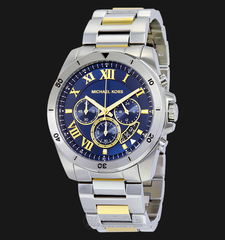 Michael Kors MK8437 Brecken Chronograph Blue Dial Two-tone Stainless Steel Machtwatch