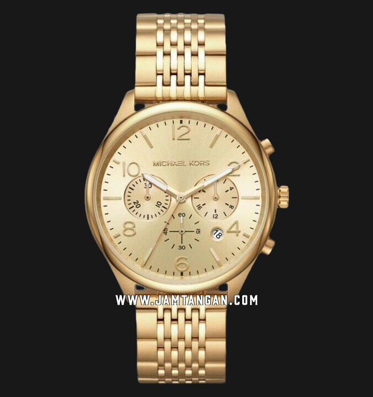 Michael Kors MK8638 Merrick Chronograph Gold Dial Gold Stainless Steel Strap Machtwatch