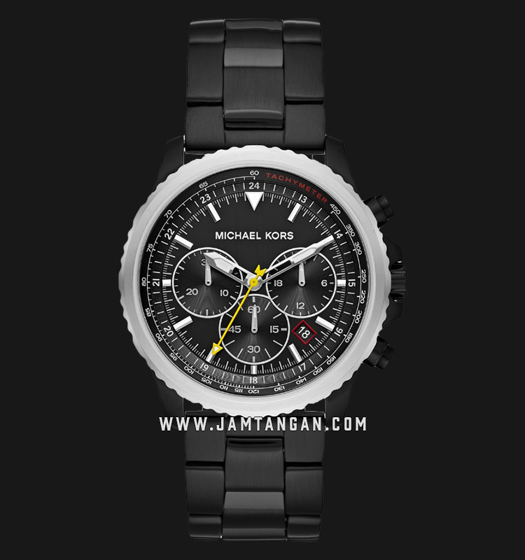 Michael Kors Theroux MK8643 Men Chronograph Black Dial Black Stainless Steel Strap Machtwatch