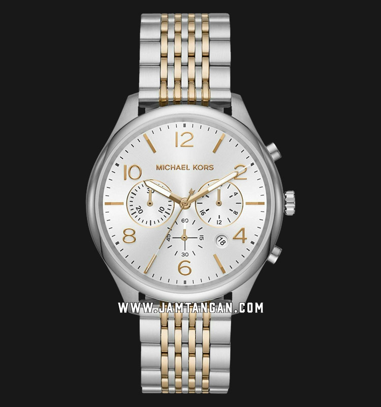 Michael Kors MK8660 Merrick Chronograph Silver Dial Dual Tone Stainless Steel Strap Machtwatch