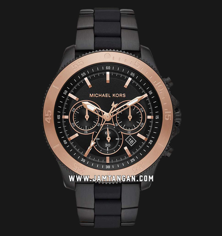 Michael Kors MK8666 Theroux Chronograph Black Dial Black Stainless Steel Strap Machtwatch
