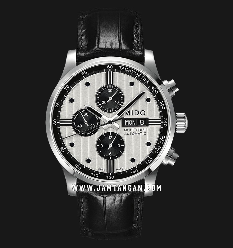 Mido M005.614.16.031.01 Multifort Chronograph Automatic Man White Dial Black Leather Strap Machtwatch