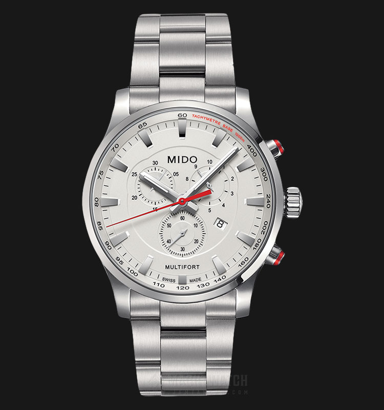 Mido M005.417.11.031.00 Multifort Chronograph Silver Dial Stainless Steel Strap Machtwatch