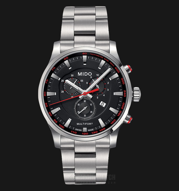 Mido M005.417.11.051.00 Multifort Chronograph Black Dial Stainless Steel Strap Machtwatch