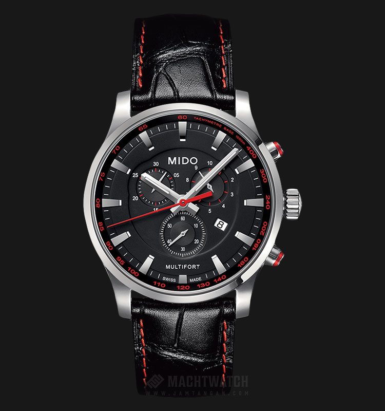 Mido M005.417.16.051.20 Multifort Chronograph Black Dial Black Leather Strap Machtwatch