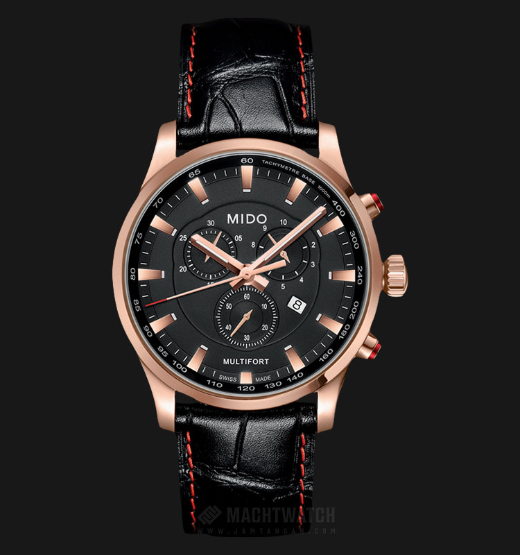 Mido M005.417.36.051.20 Multifort Chronograph Black Dial Black Leather Strap Machtwatch