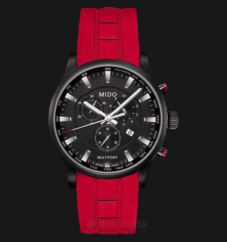 Mido M005.417.37.051.40 Multifort Chronograph Black Dial Red Rubber Strap Machtwatch