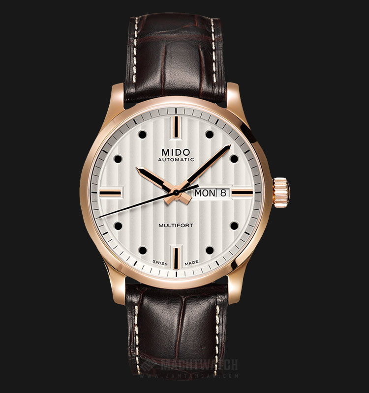 Mido M005.430.36.031.80 Multifront Automatic Silver Dial Brown Leather Strap Machtwatch