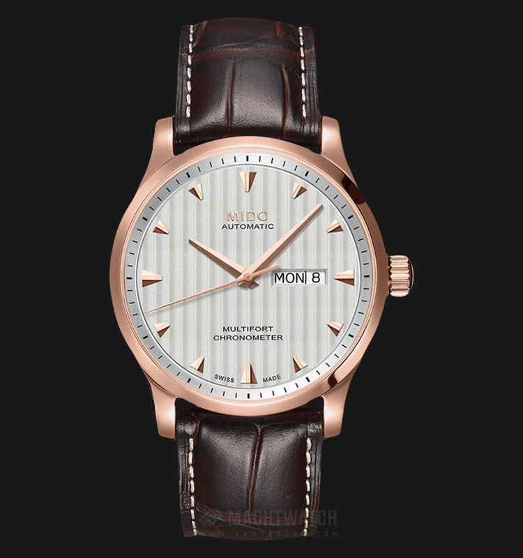 Mido M005.431.36.031.00 Multifront Chronometer Automatic Silver Dial Brown Leather Strap Machtwatch