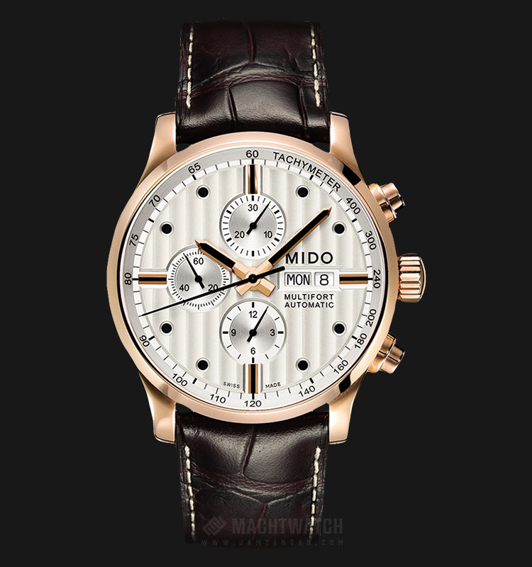 Mido M005.614.36.031.00 Multifort Chronograph Automatic Silver Dial Brown Leather Strap Machtwatch