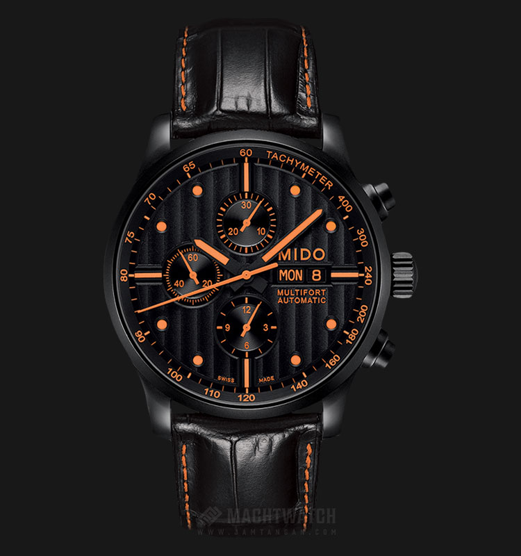 Mido M005.614.36.051.22 Multifort Chronograph Automatic Black Dial Black Leather Strap Machtwatch