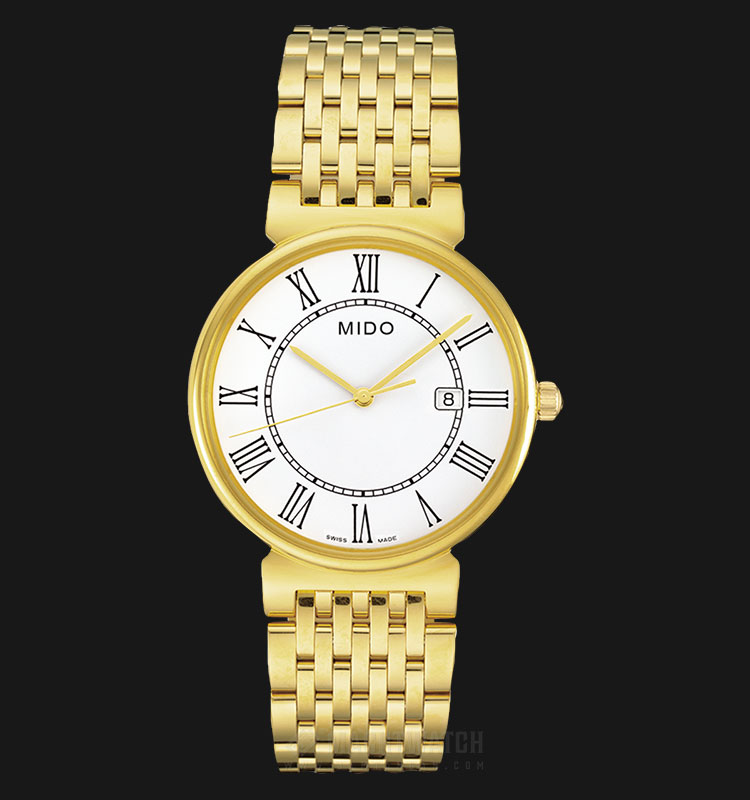 Mido M009.610.33.013.00 Dorada White Dial Gold Stainless Steel Strap Machtwatch
