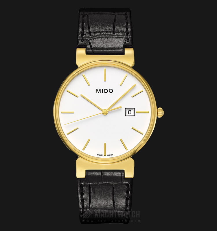Mido M009.610.36.011.00 Dorada Caballero White Dial Black Leather Strap Machtwatch