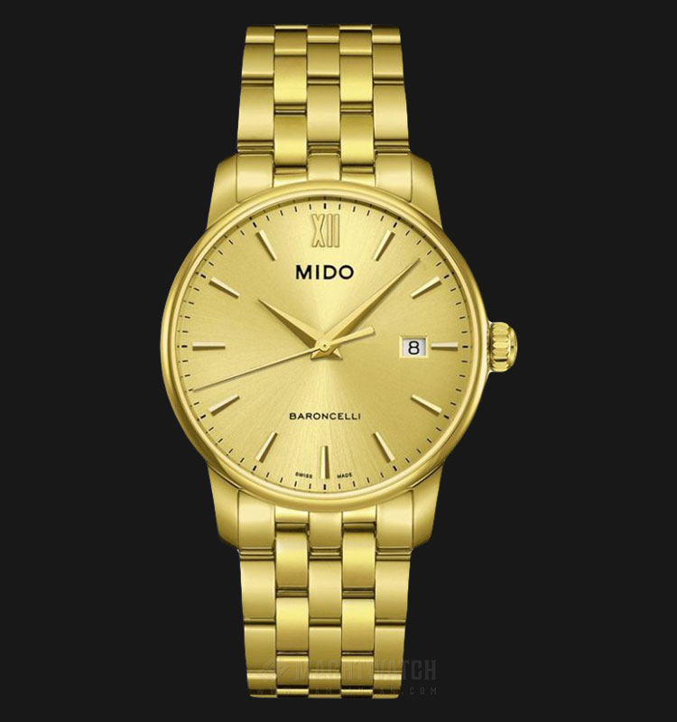 Mido M013.410.33.021.00 Baroncelli Gold Dial Gold Stainless Steel Strap Machtwatch