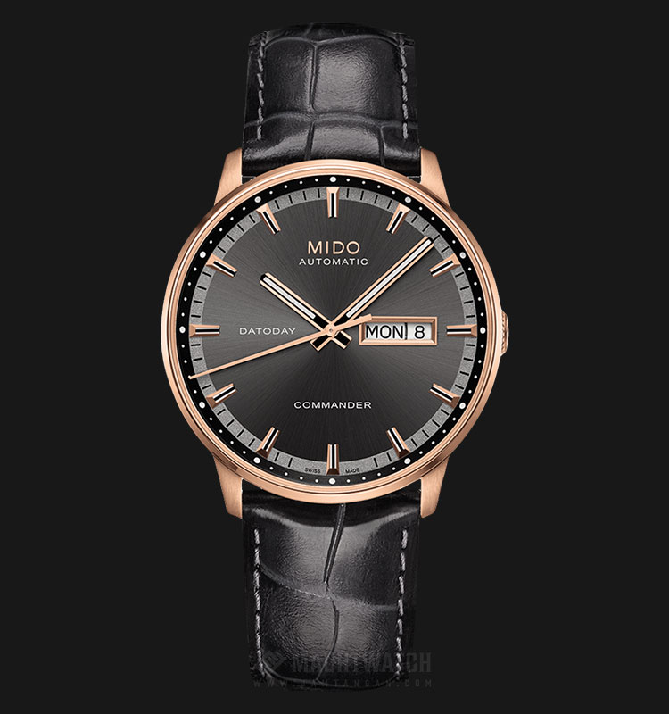 Mido M016.430.36.061.80 Commander Datoday Automatic Black Dial Black Leather Strap Machtwatch