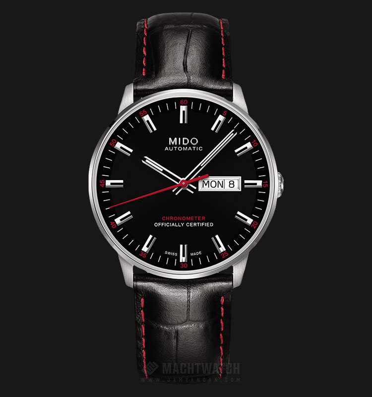 Mido M021.431.16.051.00 Commander II Chronometer Automatic Black Dial Black Leather Strap Machtwatch
