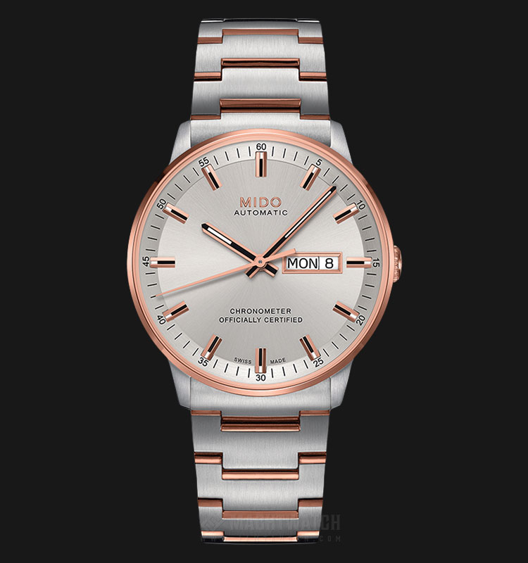 Mido M021.431.22.031.00 Commander II Chronometer Automatic Silver Dial Dual Tone St. Steel Strap Machtwatch