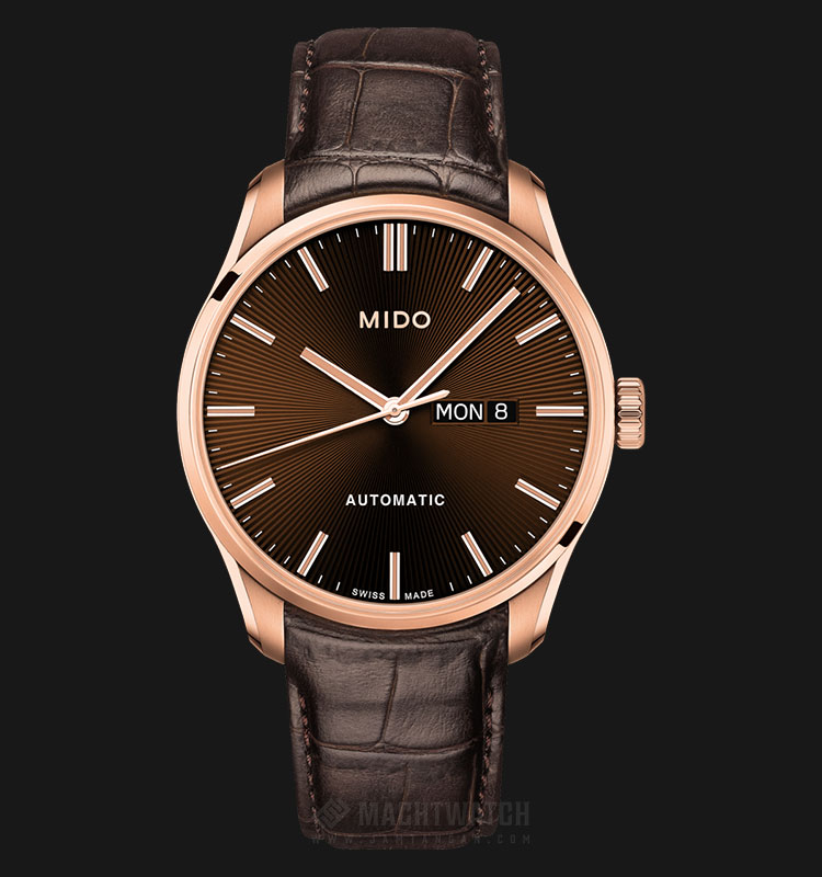 Mido M024.630.36.291.00 Belluna II Automatic Brown Dial Brown Leather Strap Machtwatch