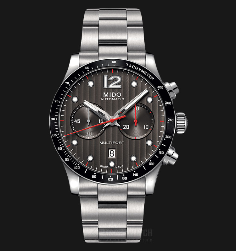 Mido M025.627.11.061.00 Multifort Chronograph Automatic Grey Dial Stainless Steel Strap Machtwatch