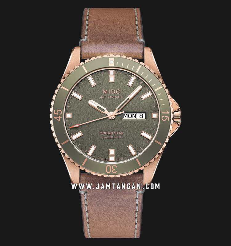 Mido M026.430.36.091.00 Ocean Star Automatic Man Green Dial Brown Leather Strap Machtwatch