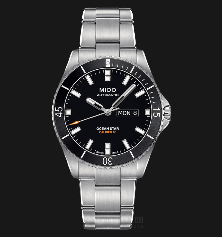 Mido M026.430.11.051.00 Ocean Star Caliber 80 Automatic Black Dial Stainless Steel Strap Machtwatch