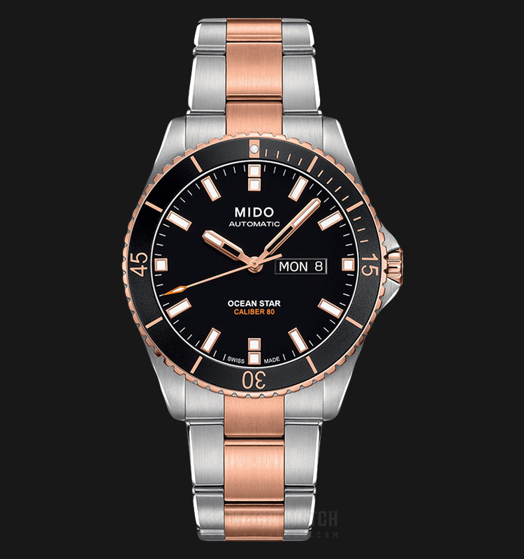 Mido M026.430.22.051.00 Ocean Star Caliber 80 Automatic Black Dial Dual Tone Stainless Steel Strap Machtwatch