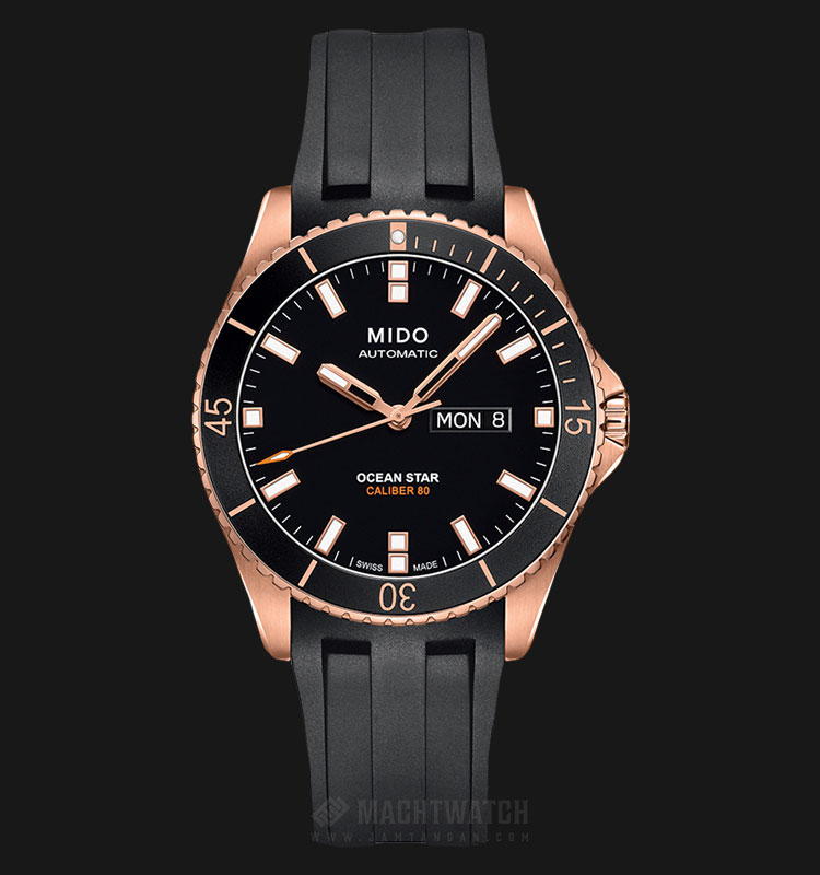 Mido M026.430.37.051.00 Ocean Star Caliber 80 Automatic Black Dial Black Rubber Strap Machtwatch