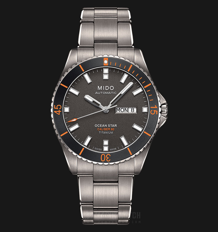 Mido M026.430.44.061.00 Ocean Star Caliber 80 Automatic Black Dial Titanium Strap Machtwatch