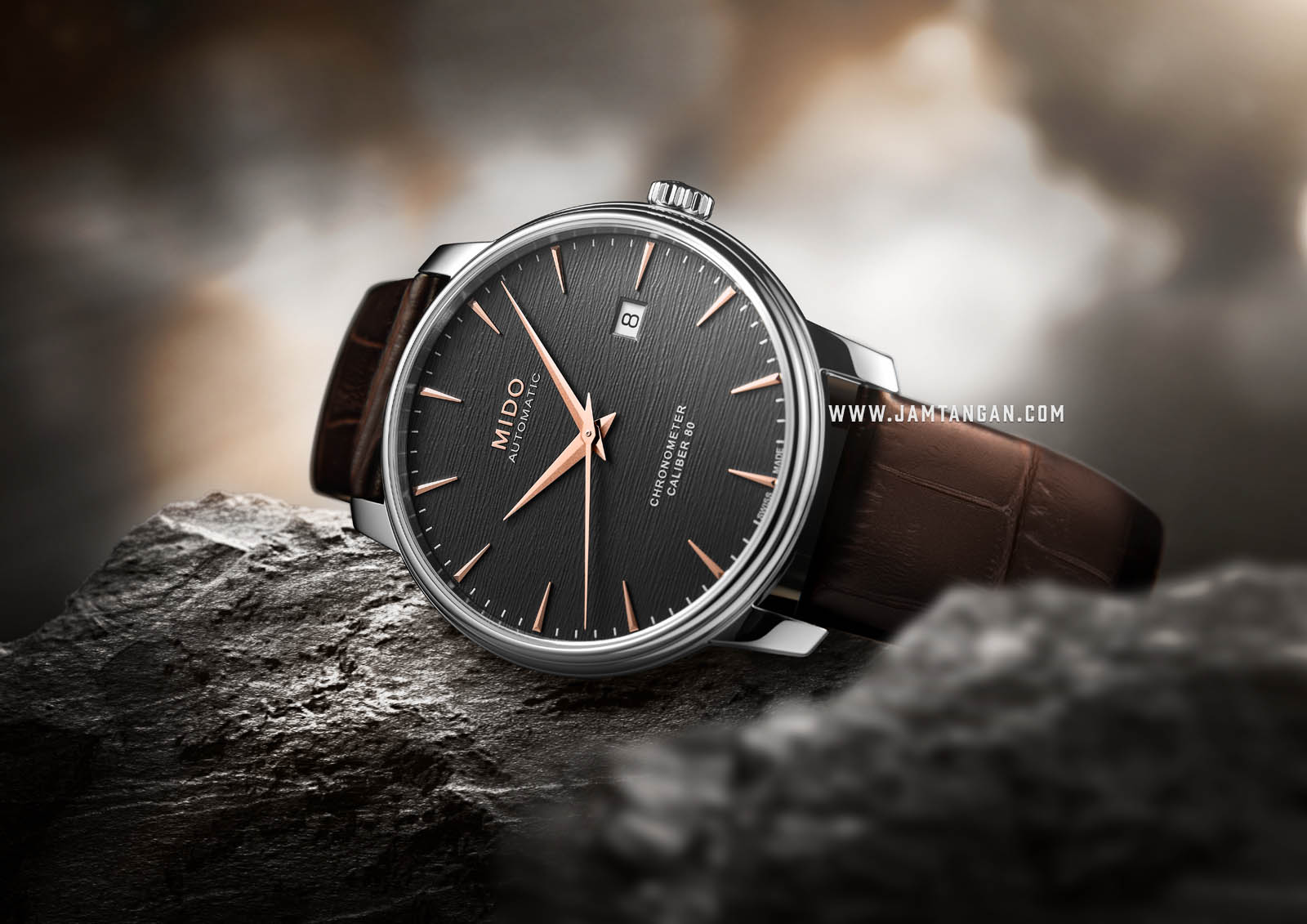 Mido M027.408.16.061.00 Baroncelli Chronometer Silicon Automatic Anthracite Dial Brown Leather Strap Machtwatch