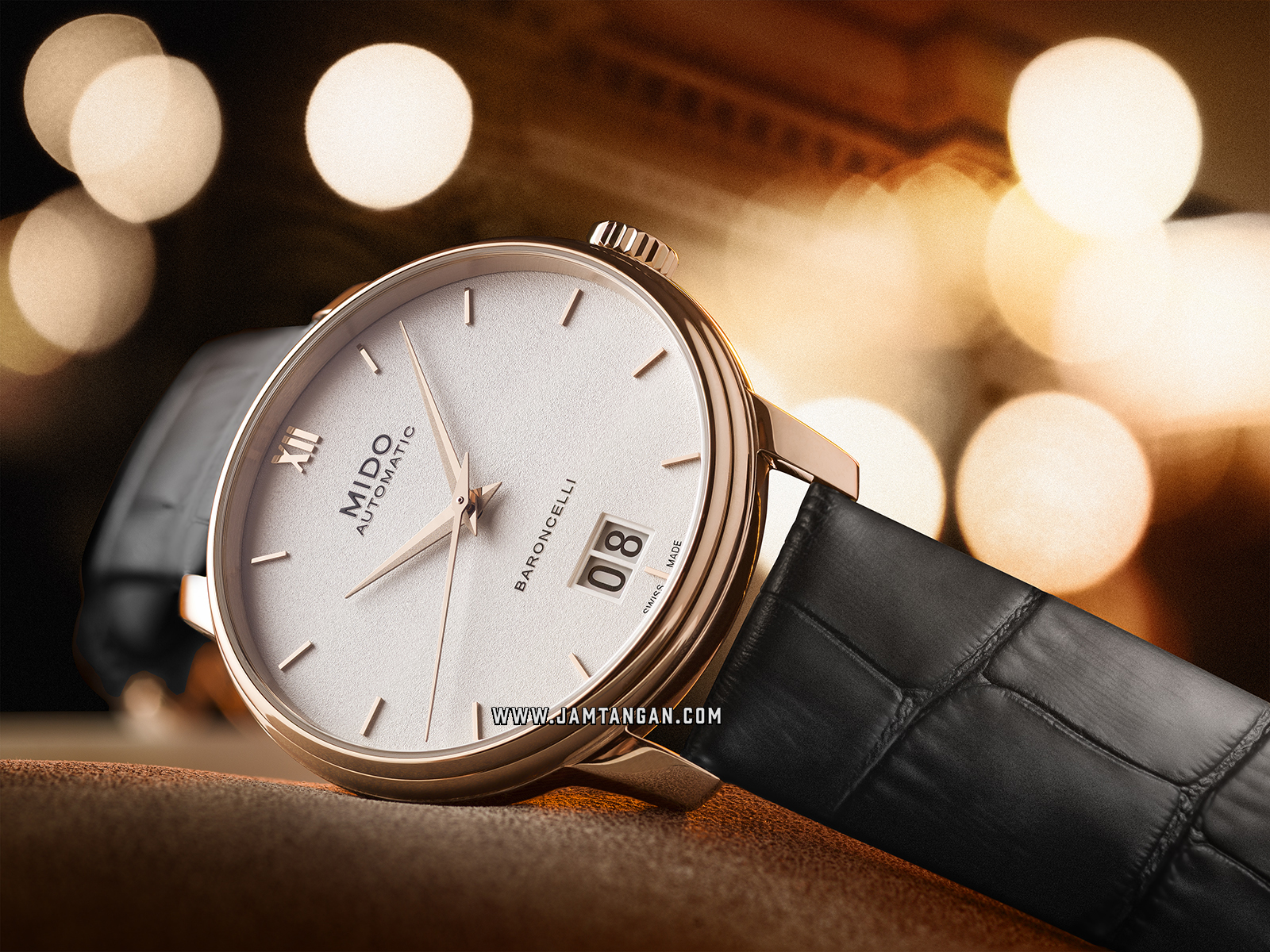 Mido M027.426.36.018.00 Baroncelli III Big Date Automatic White Dial Black Leather Strap Machtwatch
