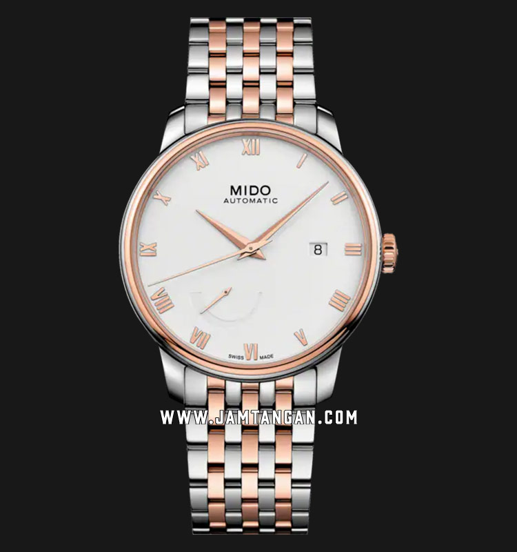 Mido Baroncelli M027.428.22.013.00 Power Reserve White Dial Dual Tone Strainless Steel Strap Machtwatch