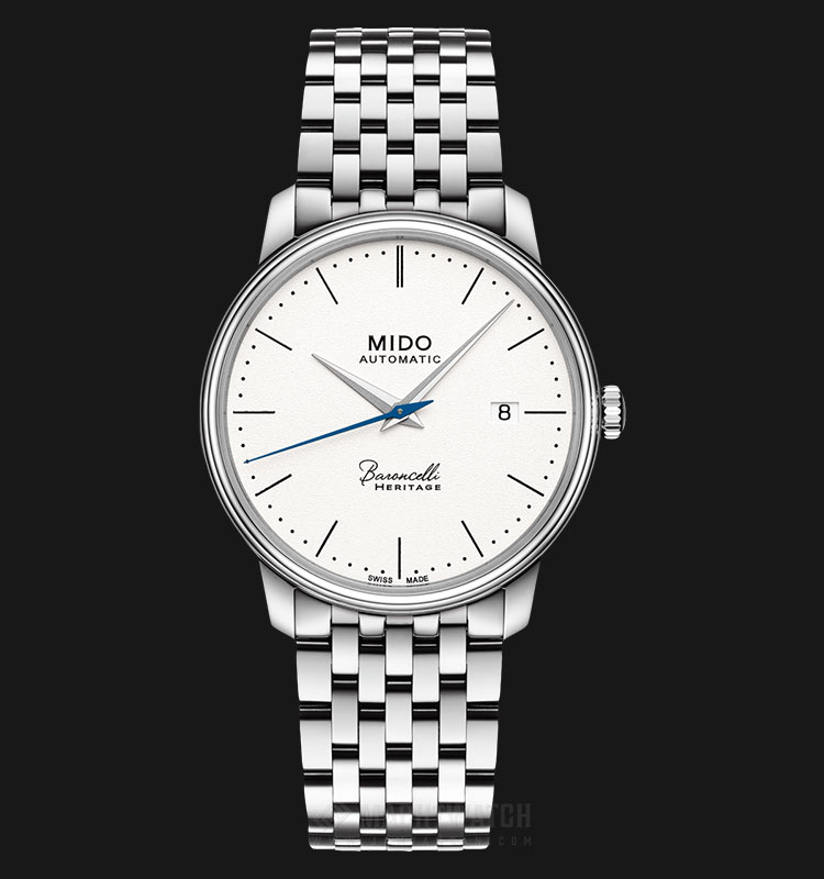 Mido M027.407.11.010.00 Baroncelli III Heritage Automatic White Dial Stainless Steel Strap Machtwatch