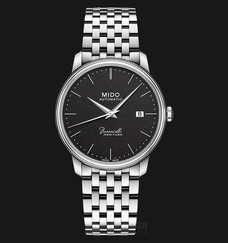 Mido M027.407.11.050.00 Baroncelli III Heritage Automatic Black Dial Stainless Steel Strap Machtwatch