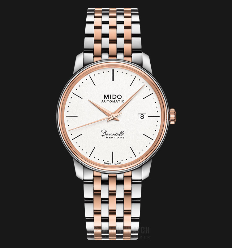 Mido M027.407.22.010.00 Baroncelli III Heritage Automatic White Dial Dual Tone Stainless Steel Strap Machtwatch