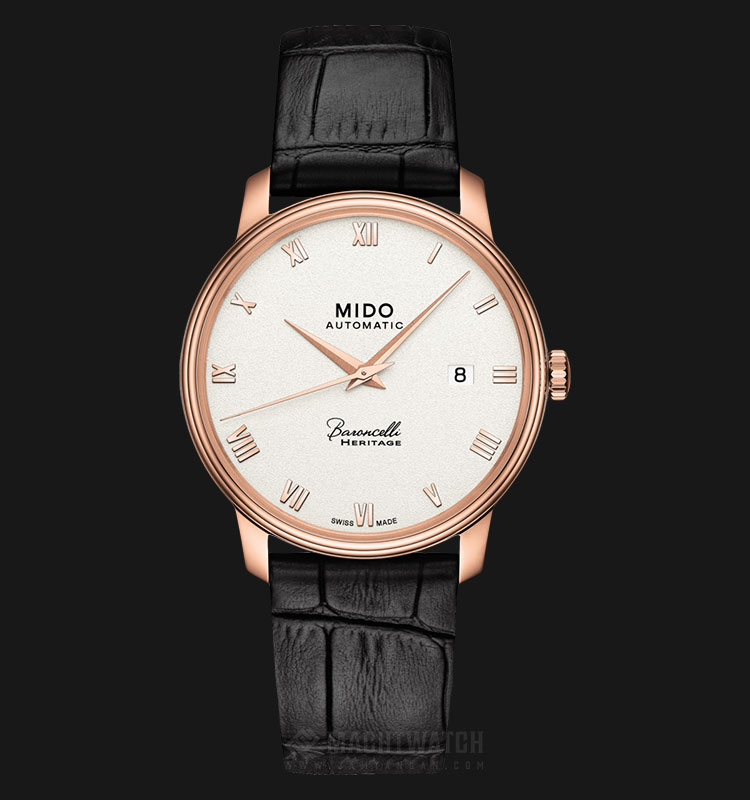 Mido M027.407.36.013.00 Baroncelli III Heritage Automatic White Dial Black Leather Strap Machtwatch