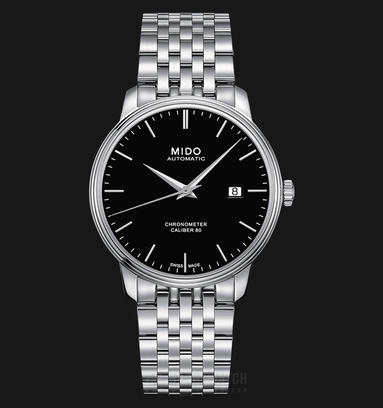 Mido M027.408.11.051.00 Baroncelli III Chronometer Cal. 80 Automatic Black Dial St. Steel Strap Machtwatch