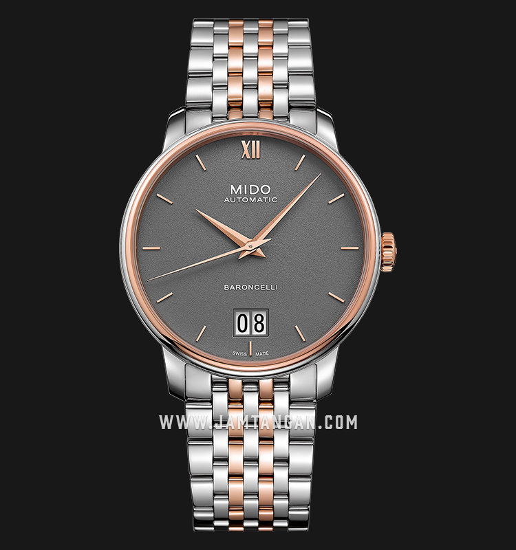 Mido M027.426.22.088.00 Baroncelli Big Date Automatic Grey Dial Dual Tone Stainless Steel Strap Machtwatch