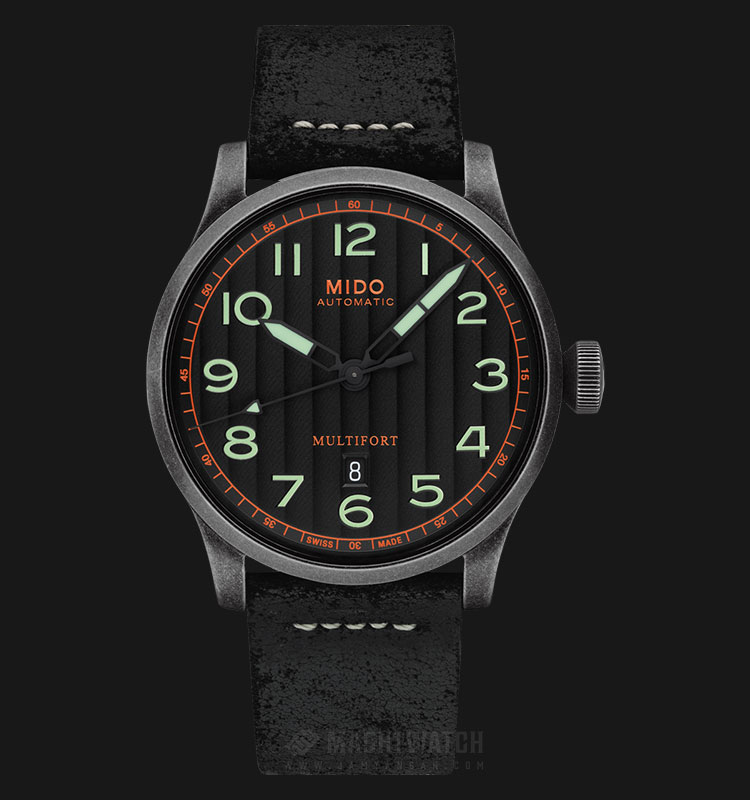 Mido M032.607.36.050.09 Multifort Automatic Black Dial Black Leather Strap Machtwatch
