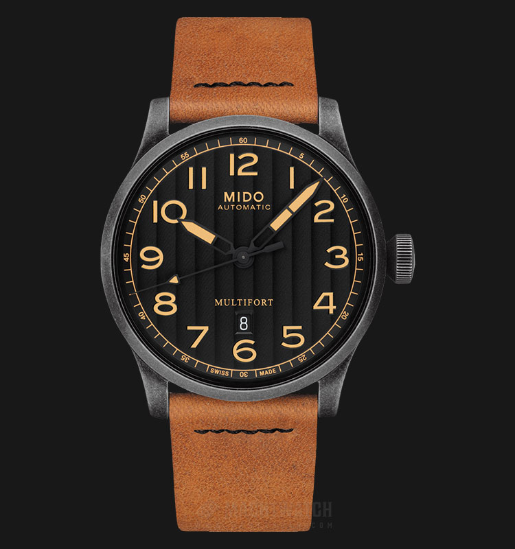 Mido M032.607.36.050.99 Multifort Automatic Black Dial Tan Leather Strap Machtwatch